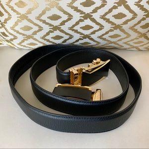 Other - Men's genuine black leather belt w/buckle